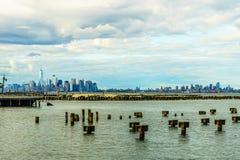 Lower Manhattan linia horyzontu widzieć od Staten Island Zdjęcie Royalty Free