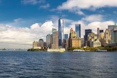 Lower Manhattan linii horyzontu widok od promu miasto nowy Jork Obrazy Royalty Free