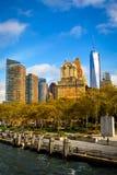 Lower Manhattan linii horyzontu widok od promu miasto nowy Jork Obrazy Stock