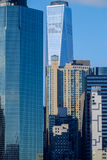 The Lower Manhattan New York City Wall Street buildings and skys Royalty Free Stock Image