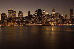 Lower Manhattan in New York at night Royalty Free Stock Photo