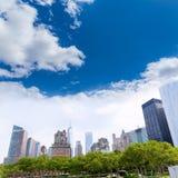 Lower Manhattan New York skyline Battery Park Stock Photos