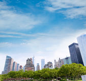Lower Manhattan New York skyline Battery Park Royalty Free Stock Photography