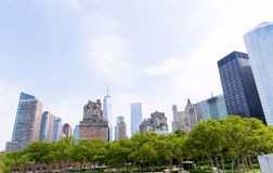 Lower Manhattan New York skyline Battery Park Royalty Free Stock Images