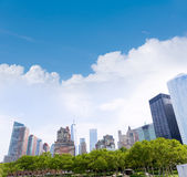 Lower Manhattan New York skyline Battery Park Stock Images
