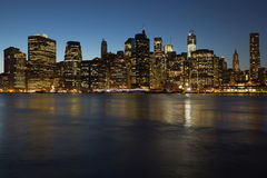 Lower Manhattan in the night Royalty Free Stock Images