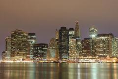 Lower Manhattan At Night Stock Photos