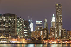 Lower Manhattan At Night Royalty Free Stock Image