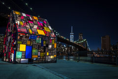 Lower Manhattan at night. Colorful image of the Manhattan skyline seen from a park in Dumbo, Brooklyn, Besides the Brooklyn Bridge you can also see Lower royalty free stock photography