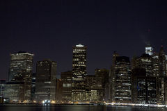 Lower Manhattan at night Stock Photo