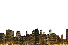 Lower Manhattan at night isolated Royalty Free Stock Photos