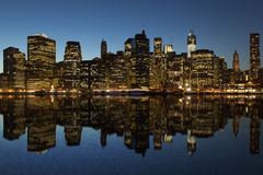 Lower Manhattan at night Stock Photography
