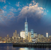 Lower Manhattan night skyline. View from Jersey City Stock Images
