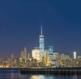 Lower Manhattan night skyline. View from Jersey City Royalty Free Stock Photos