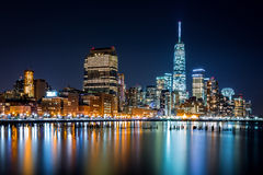 Lower Manhattan by night Royalty Free Stock Photos