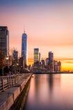 Lower Manhattan no por do sol Foto de Stock