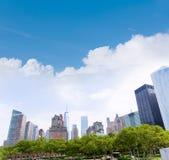Lower Manhattan Nowy Jork linii horyzontu Bateryjny park Obrazy Stock