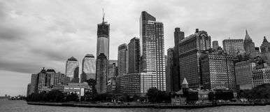 Lower Manhattan, NYC. View of Lower Manhattan shows the Freedom Tower and Battery Park under construction Stock Photography