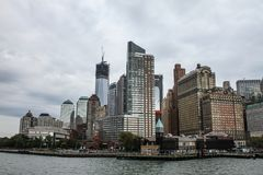 Lower Manhattan, NYC. View of Lower Manhattan shows the Freedom Tower and Battery Park under construction Royalty Free Stock Photos