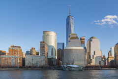 Lower manhattan, nyc. World trade center and lower manhattan from jersey city Royalty Free Stock Photography