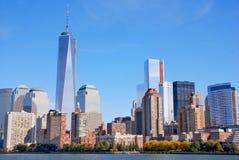Lower Manhattan och en World Trade Center Arkivbilder