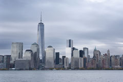 Lower Manhattan och en World Trade Center eller Freedom Tower New York City Arkivfoton