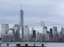 Lower Manhattan och en World Trade Center eller Freedom Tower New York City Arkivfoto