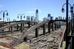 Lower Manhattan over Pier Royalty Free Stock Photography