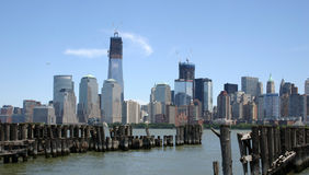 Lower Manhattan over Pier Royalty Free Stock Photos