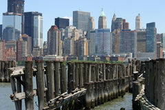 Lower Manhattan over Pier Stock Images