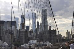 Lower Manhattan panorama from Brooklyn Bridge over East River from New York City in United States. On 3rd july 2017 Royalty Free Stock Image