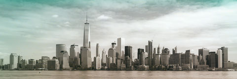 Lower Manhattan Panoramic Skyline. A view of the World Trade Center and Lower Manhattan from Liberty State Park. Photo taken on March 6, 2016 Stock Photography