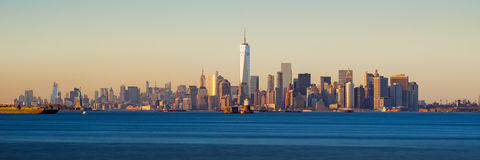 Lower Manhattan Panoramic Sunset from New York City Harbor Royalty Free Stock Photography