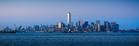 Lower Manhattan Panoramic at Twilight from New York City Harbor Royalty Free Stock Photo