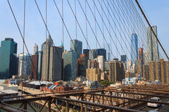 Lower Manhattan pejzaż miejski od mosta brooklyńskiego, Nowy Jork, usa Fotografia Royalty Free