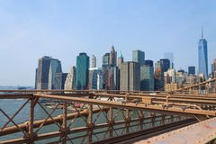 Lower Manhattan pejzaż miejski od mosta brooklyńskiego, Nowy Jork, usa Zdjęcie Stock