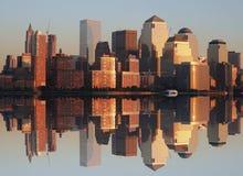 Lower Manhattan przy zmierzchem obrazy royalty free