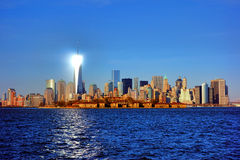 Lower Manhattan River Skyline Cityscape at Sunset Royalty Free Stock Images