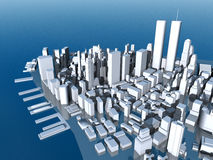 Lower Manhattan in the 1990s. Computer generated 3D illustration with Lower Manhattan in the 1990s vector illustration