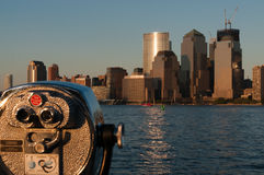 Lower Manhattan Scape. Binoculars view of Hudson river and lower Manhattan in the background with new Freedom tower under construction Stock Images