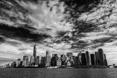 Lower Manhattan from the sea Stock Photo