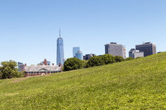 Lower Manhattan seen from Governors Island in NYC. Lower Manhattan seen from Governors Island in NY Harbor Royalty Free Stock Images
