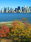 Lower Manhattan seen from Liberty Island. In autumn, New York royalty free stock images