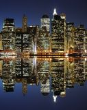 Lower Manhattan Skyline. The Lower Manhattan Skyline with serious reflections in New York City Stock Images