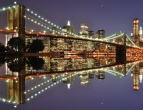 Lower Manhattan Skyline. The Lower Manhattan Skyline with serious reflections in New York City Stock Photography
