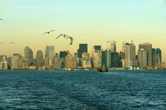 Lower Manhattan Skyline. Lower Manhattan as seen from the Staten Island ferry Royalty Free Stock Images