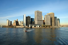 Lower Manhattan Skyline. Lower Manhattan seen from the Staten Island ferry on cold December day Stock Photography