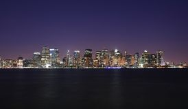 Lower Manhattan skyline. In the beauty of twilight Royalty Free Stock Images