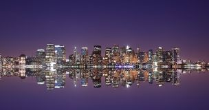 Lower Manhattan skyline. And reflection in the beauty of twilight Stock Image
