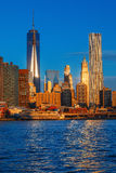 Lower Manhattan skyline along the East River Stock Images